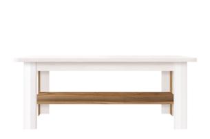 MILVO, https://konsimo.pl/kolekcja/milvo/ Stolik kawowy w stylu klasycznym biały / orzech biały/orzech naturalny - zdjęcie