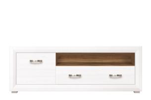 MILVO, https://konsimo.pl/kolekcja/milvo/ Szafka rtv z półkami i szufladą w stylu klasycznym biała / orzech biały/orzech naturalny - zdjęcie