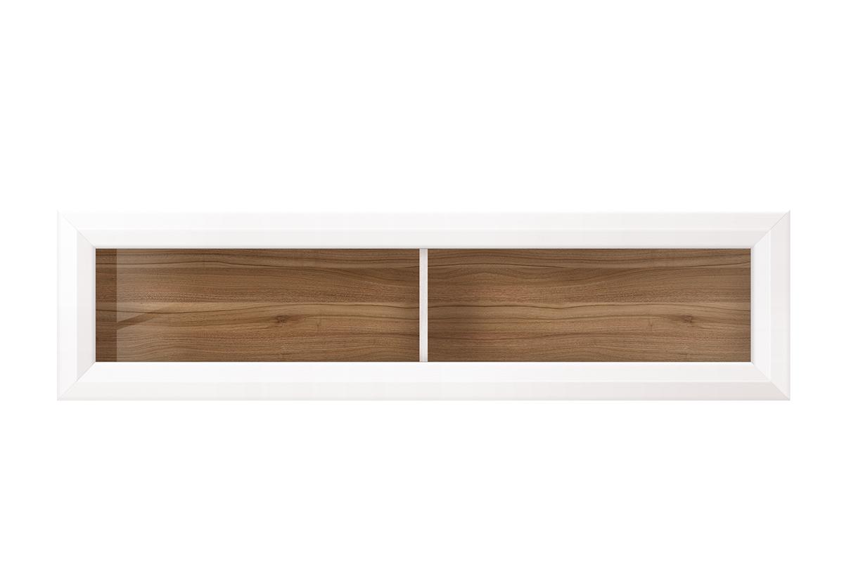 Podwójna półka wisząca w stylu klasycznym biała / orzech