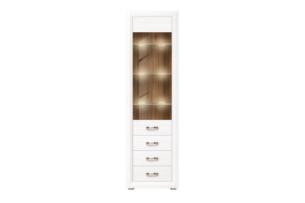 MILVO, https://konsimo.pl/kolekcja/milvo/ Wąska witryna szklana w stylu klasycznym biała / orzech biały/orzech naturalny - zdjęcie