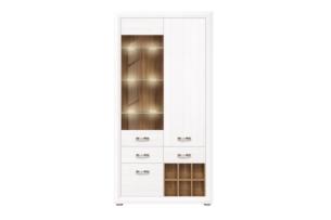 MILVO, https://konsimo.pl/kolekcja/milvo/ Witryna szklana asymetryczna w stylu klasycznnym biała biały/orzech naturalny - zdjęcie