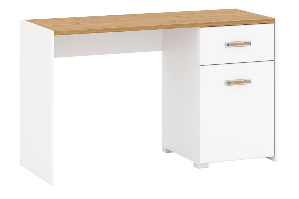 Skandynawskie biurko z półkami 130 cm białe / dąb