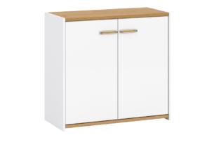 ANTHO, https://konsimo.pl/kolekcja/antho/ Skandynawska komoda z półkami 90 cm biała / dąb biały/dąb naturalny - zdjęcie
