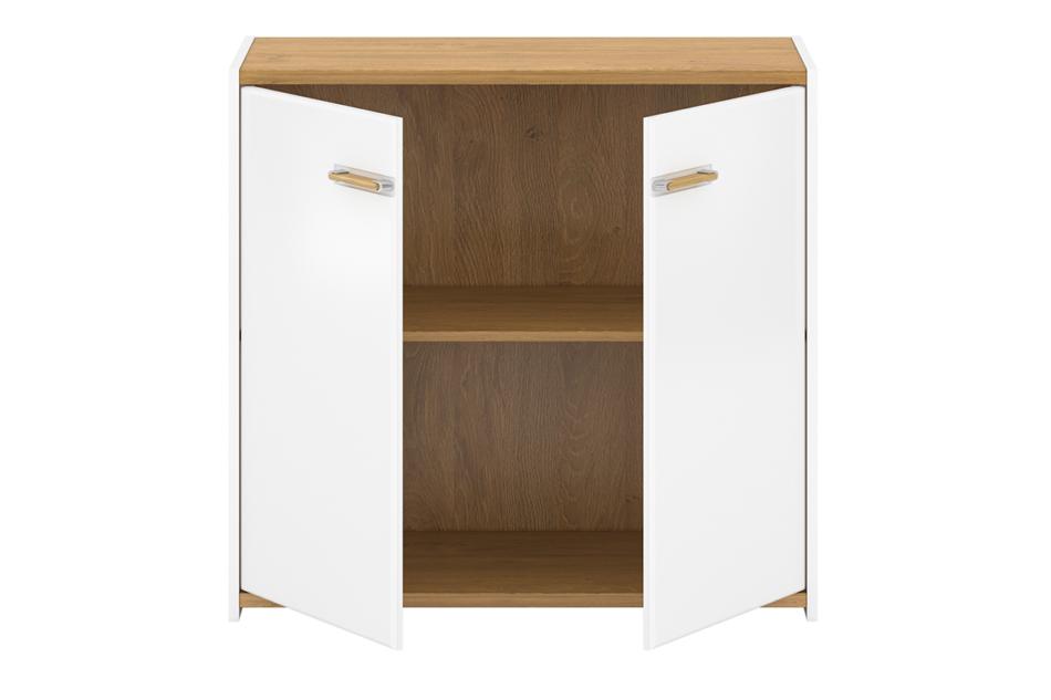 ANTHO Skandynawska komoda z półkami 90 cm biała / dąb biały/dąb naturalny - zdjęcie 2