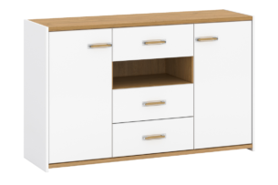 ANTHO, https://konsimo.pl/kolekcja/antho/ Skandynawska duża komoda z półkami i szufladami biała / dąb biały/dąb naturalny - zdjęcie