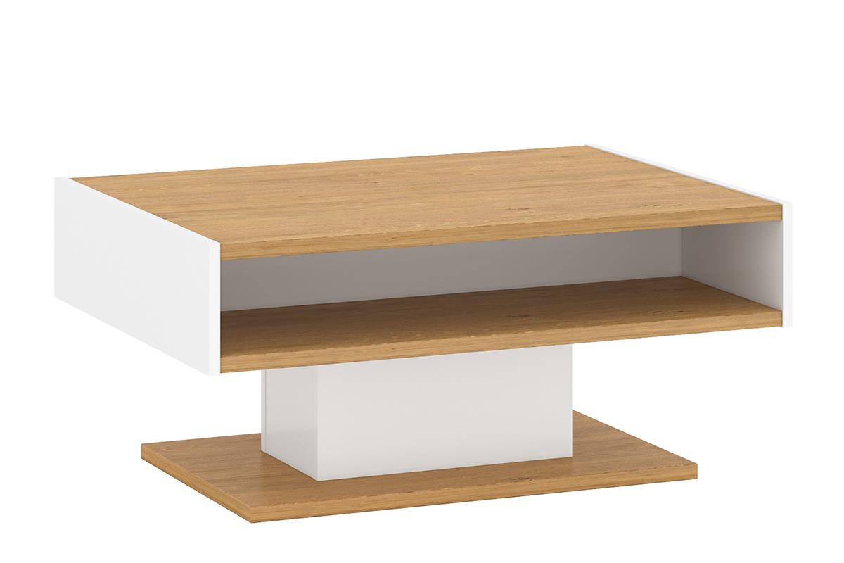 Skandynawski stolik kawowy z półką na jednej nodze biały / dąb