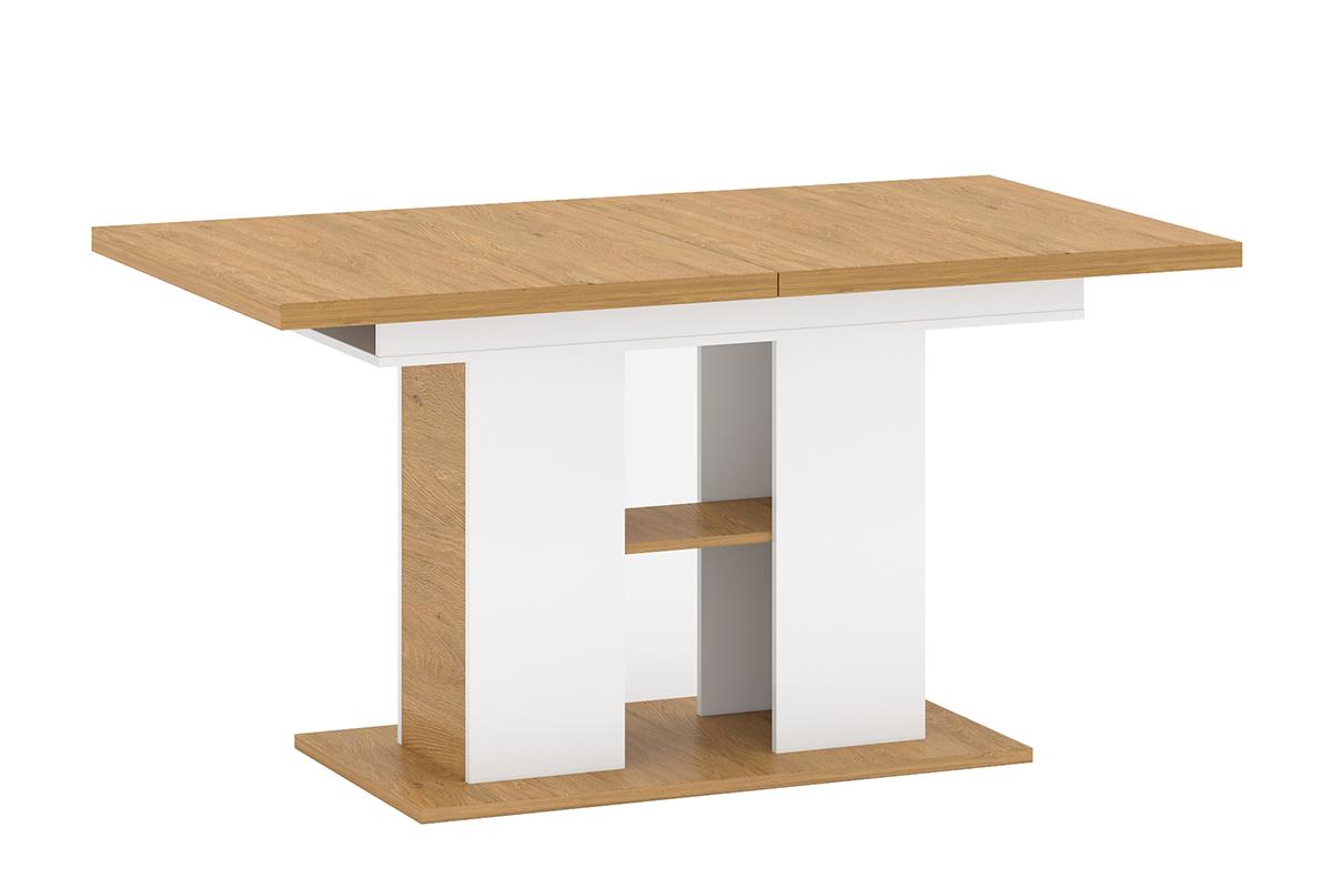 Skandynawski stół rozkładany na jednej nodze biały / dąb