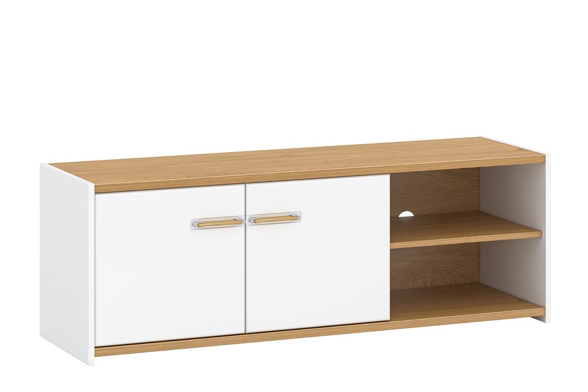 Skandynawska szafka rtv 140 cm z półkami biała / dąb