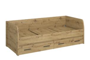 LEORI, https://konsimo.pl/kolekcja/leori/ Pojedyncze łóżko z szufladami 90 x 200  ze stelażem w stylu loft dąb artisan dąb artisan - zdjęcie