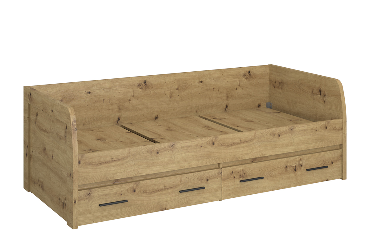 Pojedyncze łóżko z szufladami 90 x 200  ze stelażem w stylu loft dąb artisan
