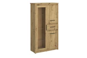 LEORI, https://konsimo.pl/kolekcja/leori/ Podwójna witryna z półkami i szufladą w stylu loft dąb artisan dąb artisan - zdjęcie