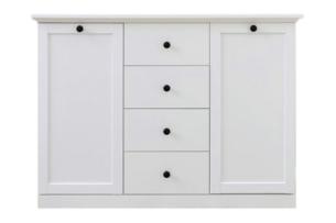 LIANTE, https://konsimo.pl/kolekcja/liante/ Komoda z półkami i szufladami do salonu biała biały - zdjęcie