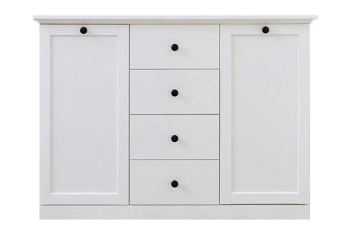 Komoda z półkami i szufladami do salonu biała