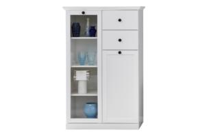 LIANTE, https://konsimo.pl/kolekcja/liante/ Szklana witryna do salonu biała biały - zdjęcie