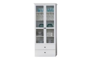 LIANTE, https://konsimo.pl/kolekcja/liante/ Podwójna witryna szklana do salonu biała biały - zdjęcie