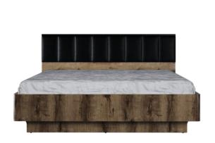 LANDU, https://konsimo.pl/kolekcja/landu/ Nowoczesna rama łóżka z zagłówkiem 160x200 dąb monastery/czarny - zdjęcie