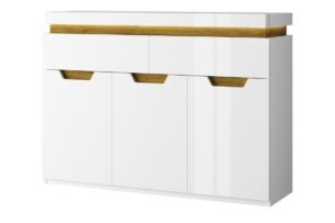 TECTO, https://konsimo.pl/kolekcja/tecto/ Komoda w stylu skandynawskim biały połysk/dąb nawarra - zdjęcie