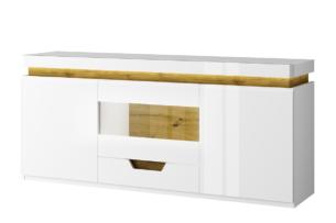 TECTO, https://konsimo.pl/kolekcja/tecto/ Szafka RTV w stylu skandynawskim biały połysk/dąb nawarra - zdjęcie