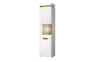 TECTO, https://konsimo.pl/kolekcja/tecto/ Wąska szklana witryna w stylu skandynawskim biały połysk/dąb nawarra - zdjęcie