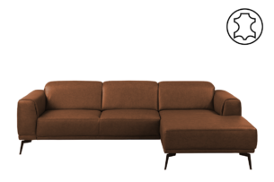 RICANO, https://konsimo.pl/kolekcja/ricano/ Narożnik skórzany w stylu loft na nóżkach ciepły brąz brązowy - zdjęcie
