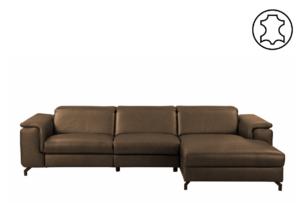 CERTI, https://konsimo.pl/kolekcja/certi/ Skórzany narożnik z funkcją relax brązowy brązowy - zdjęcie