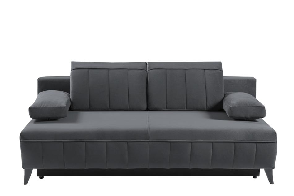 VENTI Sofa z funkcją spania z podłokietnikami welur szara szary - zdjęcie 0