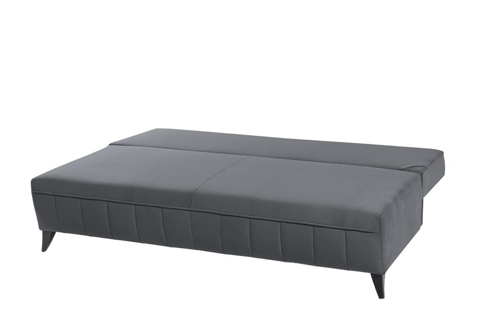 VENTI Sofa z funkcją spania z podłokietnikami welur szara szary - zdjęcie 4