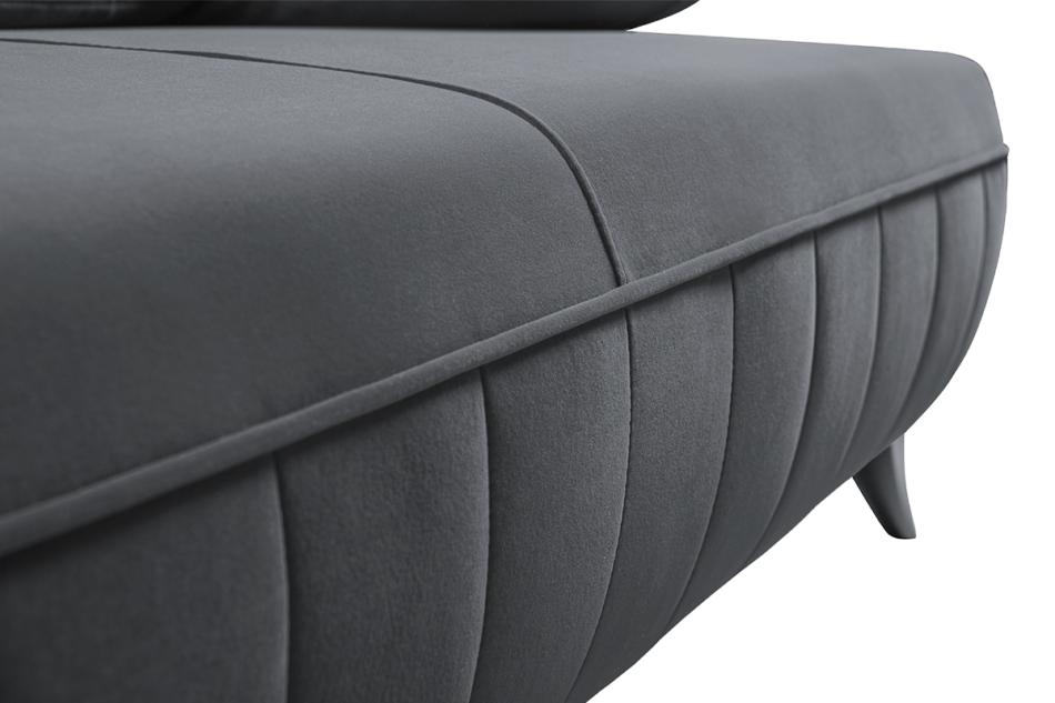 VENTI Sofa z funkcją spania z podłokietnikami welur szara szary - zdjęcie 5