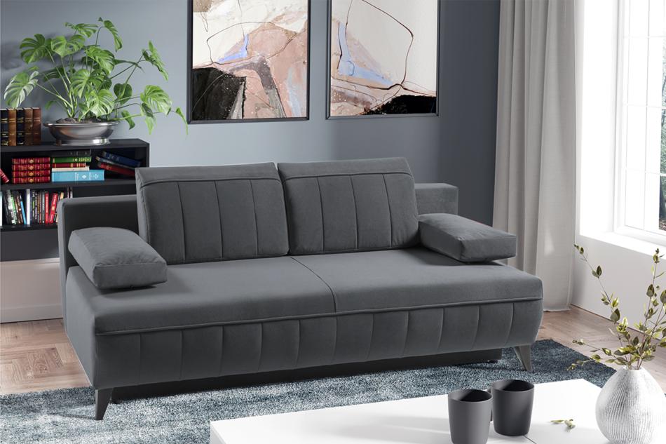 VENTI Sofa z funkcją spania z podłokietnikami welur szara szary - zdjęcie 1