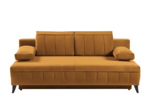 VENTI, https://konsimo.pl/kolekcja/venti/ Sofa z funkcją spania z podłokietnikami welur musztarda musztardowy - zdjęcie
