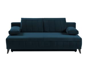 VENTI, https://konsimo.pl/kolekcja/venti/ Sofa z funkcją spania z podłokietnikami welur niebieska morski - zdjęcie