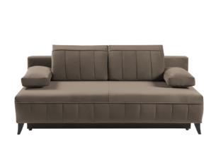 VENTI, https://konsimo.pl/kolekcja/venti/ Sofa z funkcją spania z podłokietnikami welur beżowa beżowy - zdjęcie