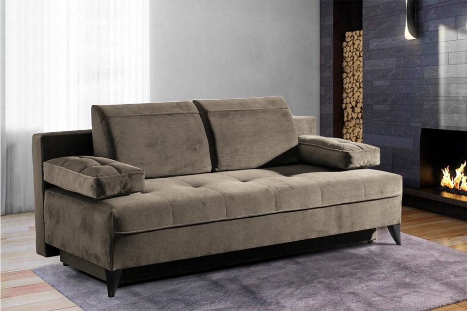 NETISO Wygodna sofa pikowane podłokietniki beżowa beżowy - zdjęcie 1