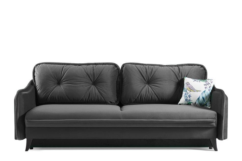 MELICO Kanapa rozkładana duże poduszki welur szara szary - zdjęcie 0