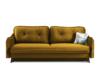 MELICO Kanapa rozkładana duże poduszki welur żółta musztardowy - zdjęcie 1