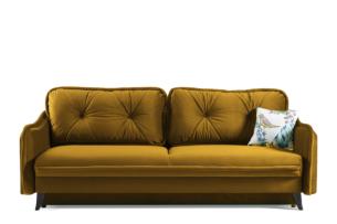 MELICO, https://konsimo.pl/kolekcja/melico/ Kanapa rozkładana duże poduszki welur żółta musztardowy - zdjęcie