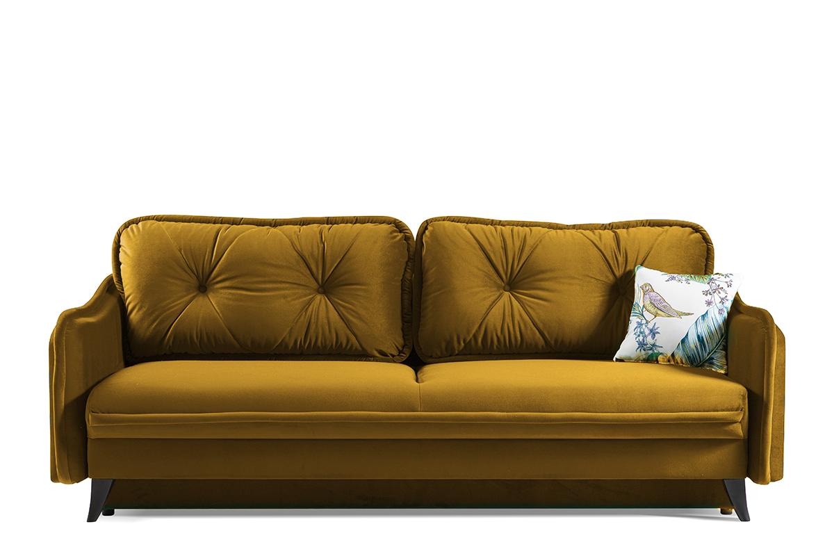 Kanapa rozkładana duże poduszki welur żółta