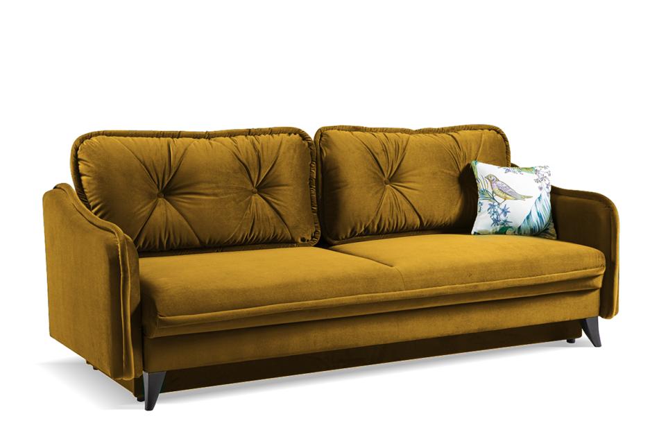 MELICO Kanapa rozkładana duże poduszki welur żółta musztardowy - zdjęcie 2