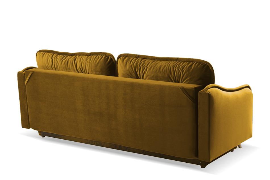 MELICO Kanapa rozkładana duże poduszki welur żółta musztardowy - zdjęcie 3