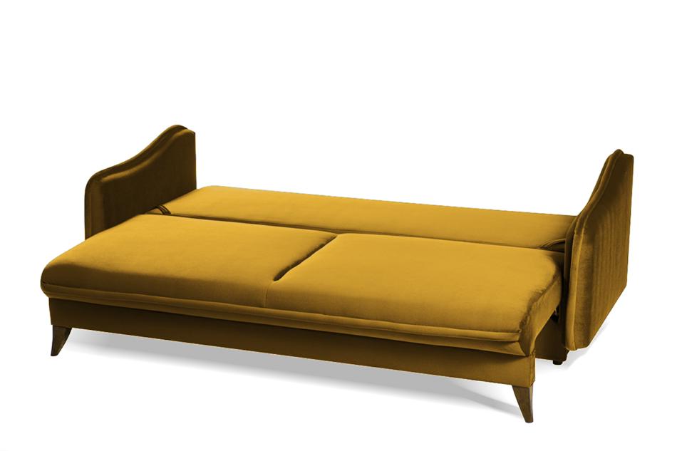 MELICO Kanapa rozkładana duże poduszki welur żółta musztardowy - zdjęcie 4