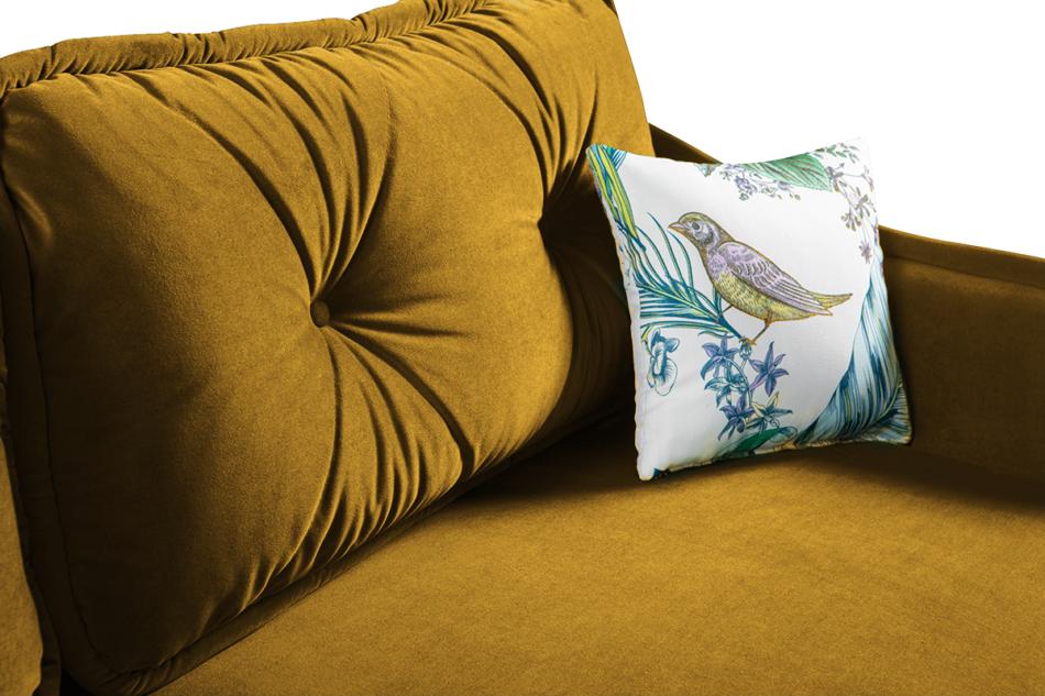 MELICO Kanapa rozkładana duże poduszki welur żółta musztardowy - zdjęcie 5
