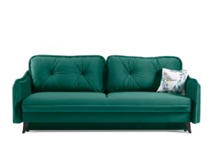 MELICO, https://konsimo.pl/kolekcja/melico/ Kanapa rozkładana duże poduszki welur ciemnozielona ciemny zielony - zdjęcie
