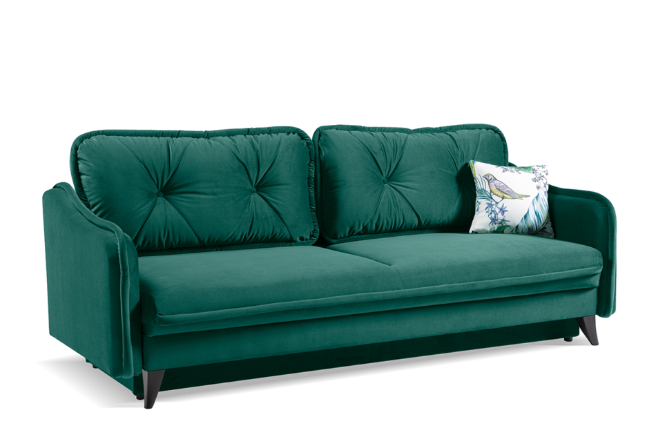 MELICO Kanapa rozkładana duże poduszki welur ciemnozielona ciemny zielony - zdjęcie 2