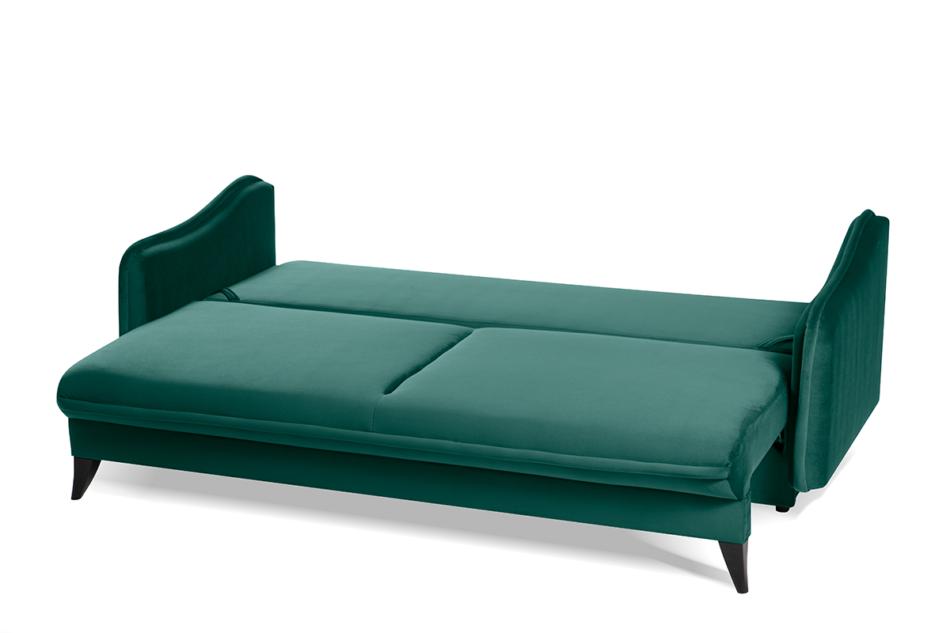 MELICO Kanapa rozkładana duże poduszki welur ciemnozielona ciemny zielony - zdjęcie 3