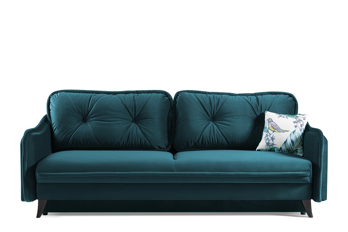 Kanapa rozkładana duże poduszki welur niebieska