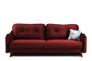 MELICO, https://konsimo.pl/kolekcja/melico/ Kanapa rozkładana duże poduszki welur czerwona bordowy - zdjęcie