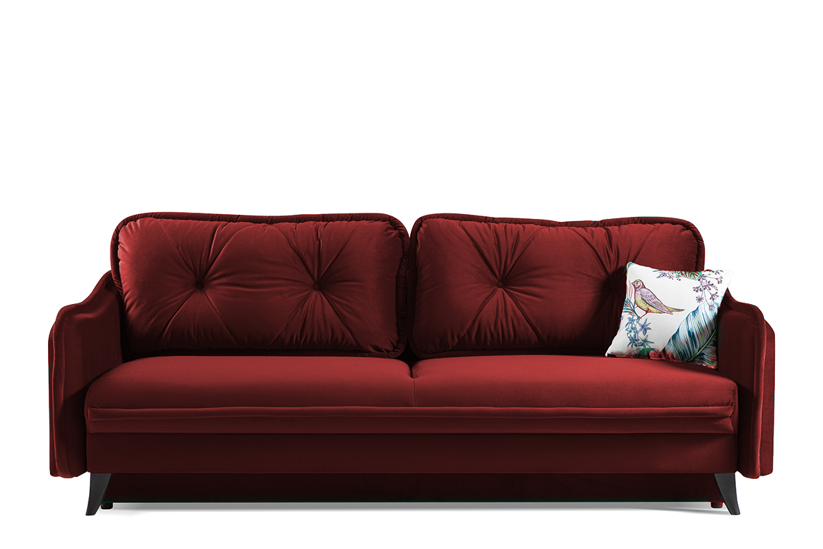 Kanapa rozkładana duże poduszki welur czerwona
