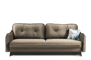 MELICO, https://konsimo.pl/kolekcja/melico/ Kanapa rozkładana duże poduszki welur beżowa beżowy - zdjęcie