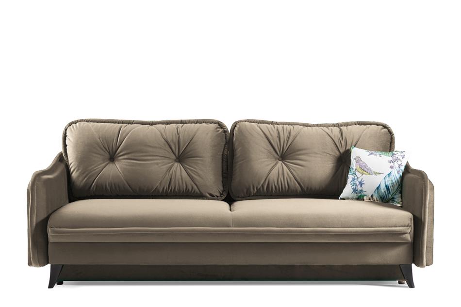 MELICO Kanapa rozkładana duże poduszki welur beżowa beżowy - zdjęcie 0
