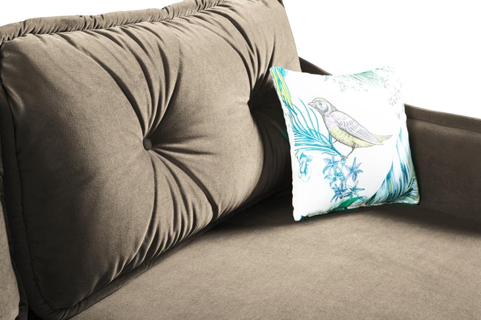 MELICO Kanapa rozkładana duże poduszki welur beżowa beżowy - zdjęcie 5